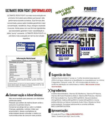 ultimate iron fight pré treino - 120g - profit promoção