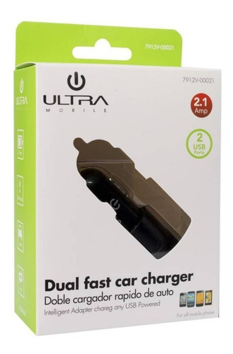 ultra cargador rápido para auto 2 usb 2.1 a - phone store