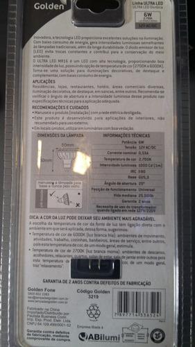 ultra led dimerizavel branca 6w 12v 2700k - 6 peças
