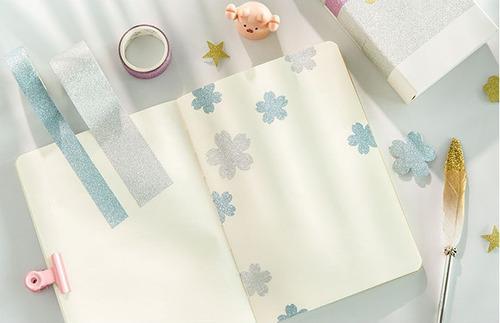 um kit de washi tape glitte/ 6 fitas adesivas decoradas