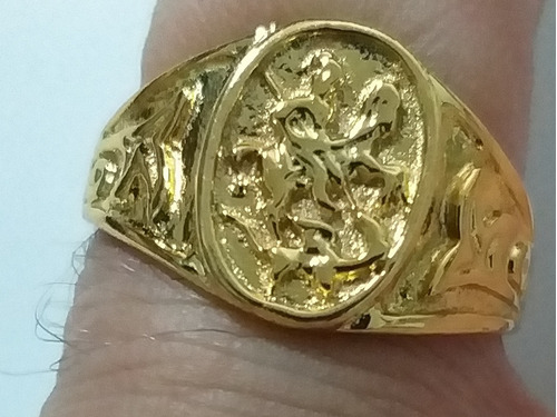 um lindo anel de sao jorge matando o dragao  santo guerreiro