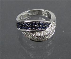 um show de joia ouro branco 18k/750 diamantes e safiras