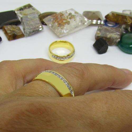 uma aliança 13 pedras 8mm anatômica ouro 18k banho promoção