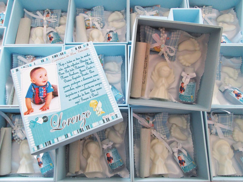 uma caixa lembrancinha padrinhos batizado 15x15x05 tercinho