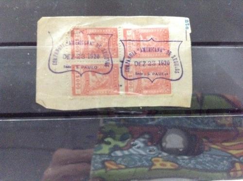 uma peça de 4 selos de fiscais do brasil com carinho bonito