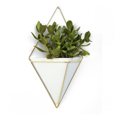 umbra maceta decorativa  geometrica para pared, blanco
