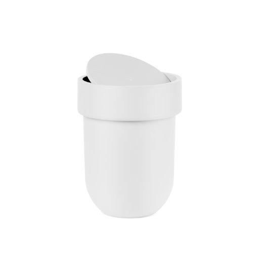 umbra táctil de residuos con tapa, blanco