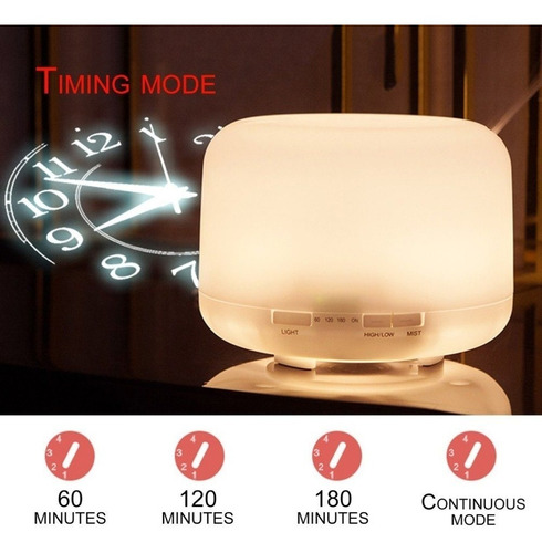 umidificador aromar lâmpada colorida 4x1 500ml