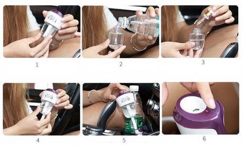 umidificador aromatizador e carregador usb veicular nanumcar