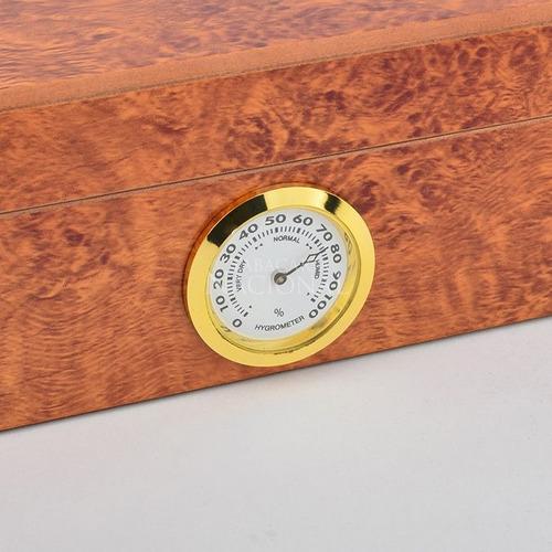 umidor para 32 charutos rádica clara - tampa de madeira