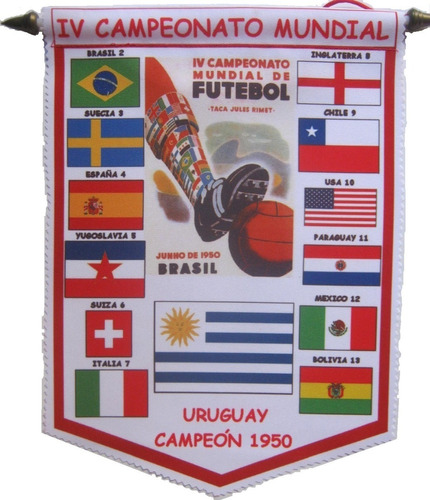 un banderin de futbol del mundial 1950. brasil.