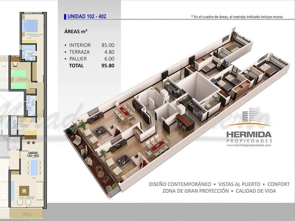 un concepto diferente de alta gama. apto dos dormitorios y dos baños. gran terraza exclusiva