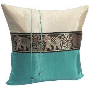 un par de hermosa seda tailandesa fundas de almohada p k11
