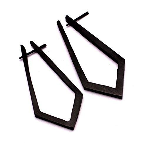 un par pendientes negros coco madera pendientes madera boho