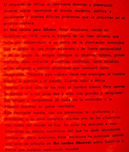 una corona para udomo peter abrahams fabril editor argentina