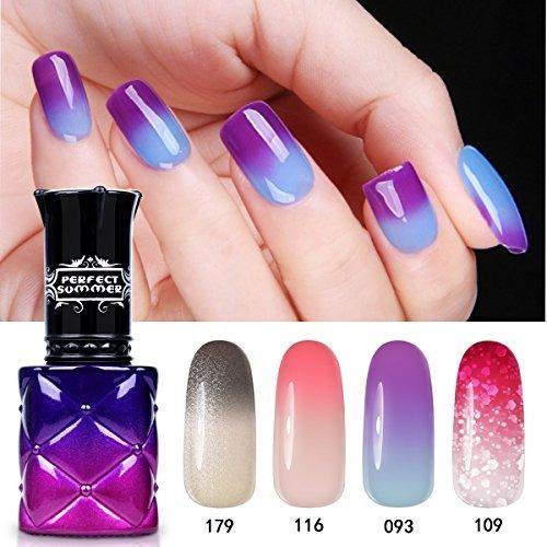 Uñas De Gel Que Cambia De Color Ideal Para El Verano 4pcs