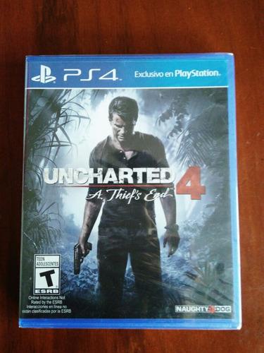 uncharted 4 juego ps4 nuevo y sellado en español.