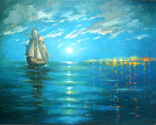 under the moon - cuadros, pinturas al oleo de dmitry spiros