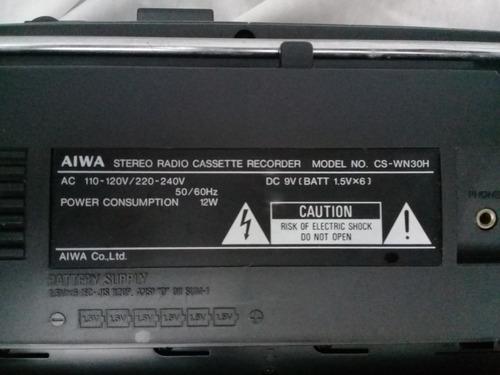 única peça no brasil boombox rádio gravador aiwa cs-wh30