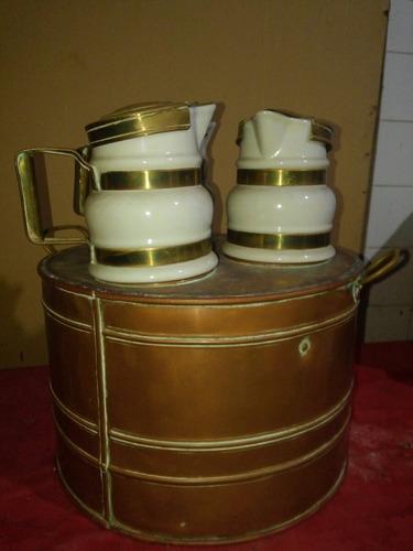 unico baño maria antiguo frances en bronce y porcela unico