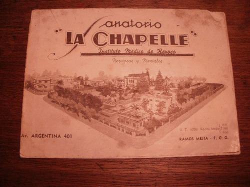 unico! folleto 1930 sanatorio psiquiátrico  la chapelle