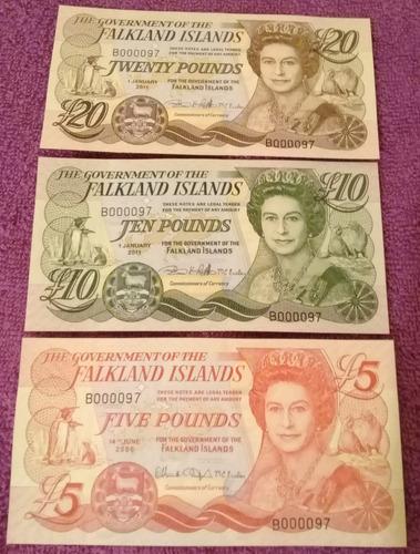 único! lote billetes malvinas mismo número misma serie s / c