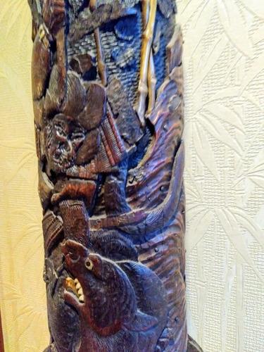 unico siglo 18 / 19 - talla oriental en bamboo madreperla ox