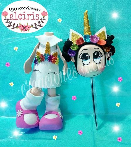 unicornio centro de mesa fiesta infantil niña econ fofu