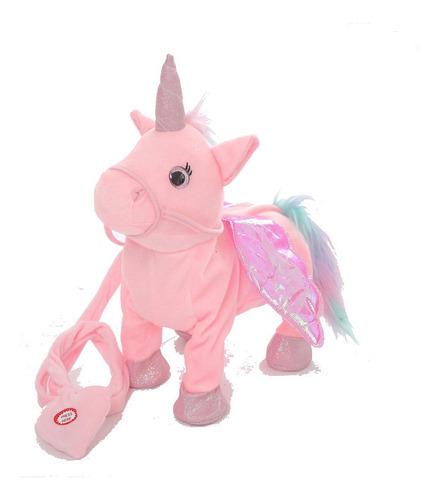 unicornio de peluche camina mueve la cola con musica +regalo
