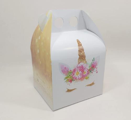 unicornio dorado - cajita feliz - x40 unidades