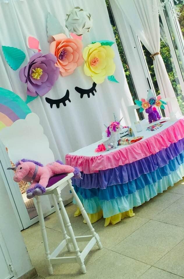 Unicornio Flores De Papel Gigantes Deco Fiestas 659 00 En