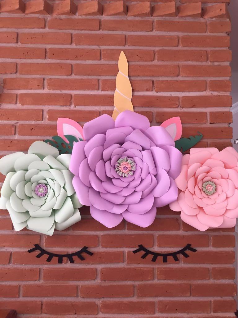 Unicornio Flores Papel Gigantes Deco Backdrop Fiestas 930 00 En