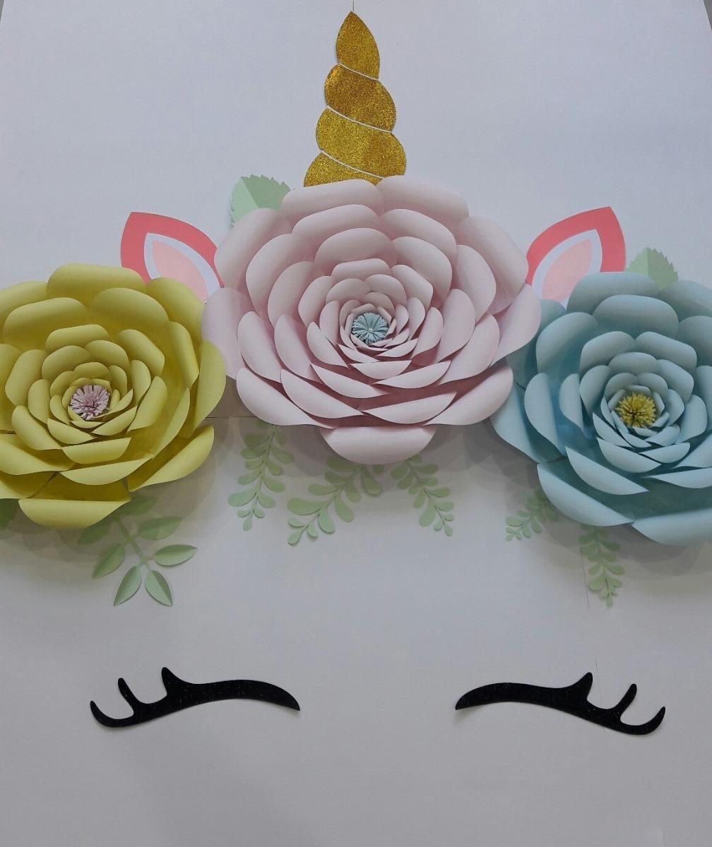 Unicornio Flores Papel Gigantes Deco Backdrop Fiestas 820 00 En