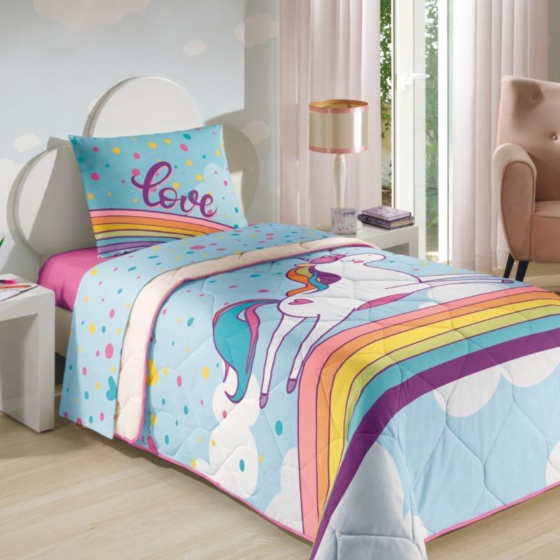1cb89b5f8 unicórnio kit 4pçs edredom e jogo cama lençol 3pç infantil. Carregando zoom.