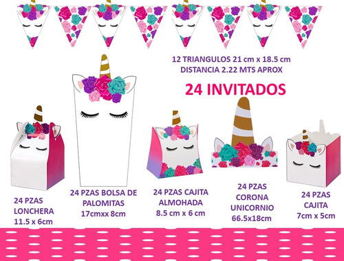 unicornio kit paquete cumpleaños mesa dulces 24 personas