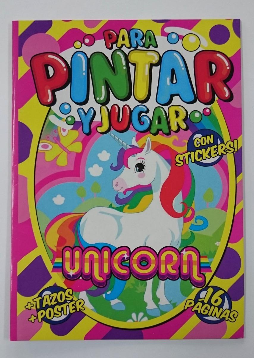 Unicornio Libro Librito Para Pintar Colorear Con Stickers - $ 28,00 ...