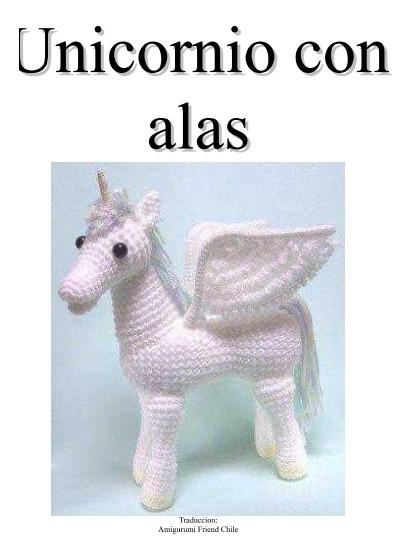Unicornio con alas blanco-arcoiris de ganchillo, alegre y tierno ...   559x412