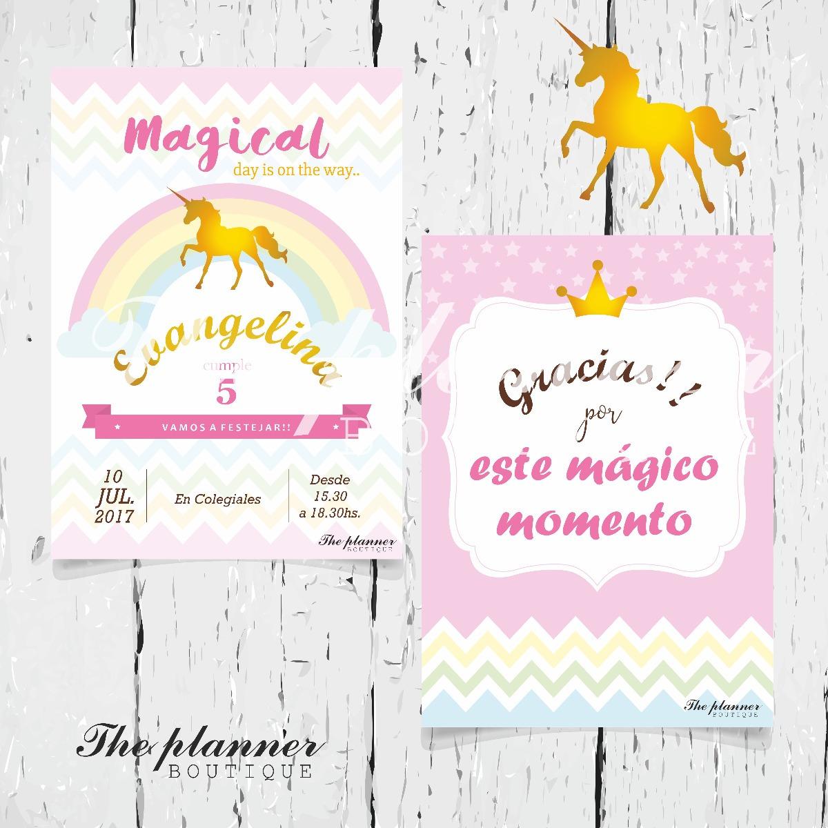 Unicornio Tarjetas Invitación Cumpleaños Kits Para Fiesta