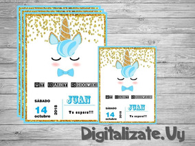 Unicornio Varon Tarjeta Invitacion Digital Para Baby Shower
