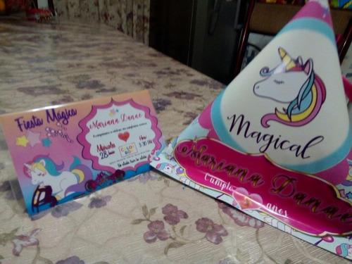 unicornios dulceros e invitaciones hermosos paquete