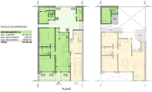 unidad en una planta de 160 metros con jardin y 3 dormitorios en la lucila-vias/maipu