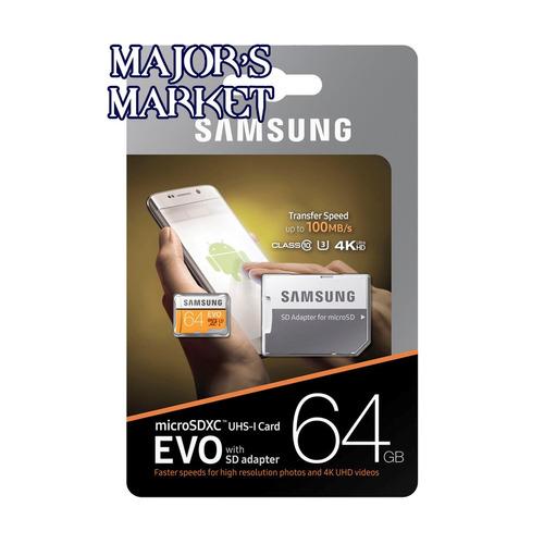 unidad flash microsd samsung evo 64gb uhs-i u3