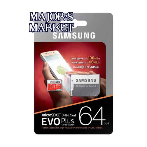 unidad flash microsd samsung evo plus 64gb uhs-i u3