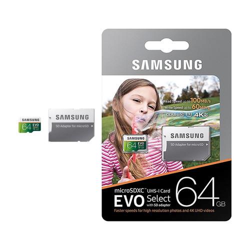 unidad flash microsd samsung evo select 64gb uhs-i u3