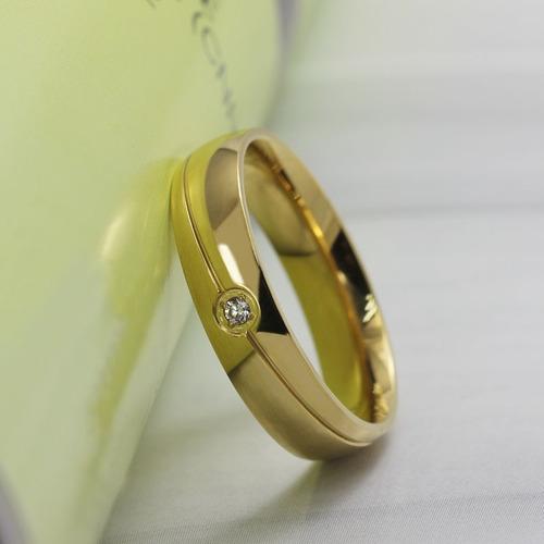 unidade  aliança com brilhante banhada a ouro