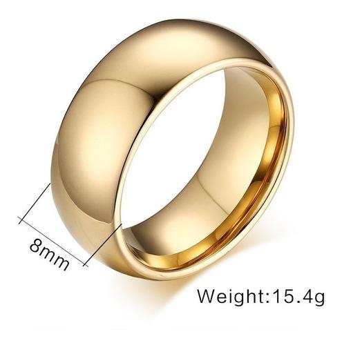 unidade aliança tradicional tungstênio 8mm folheada ouro 18k