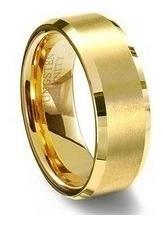 unidade anel aliança de tungstênio 8mm folheada ouro