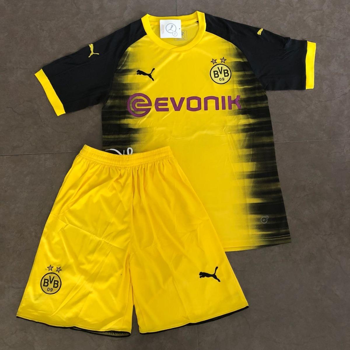 uniforme borussia dortmund infantil 2017 2018 amarelo preto. Carregando  zoom. d7885eebc0ca2