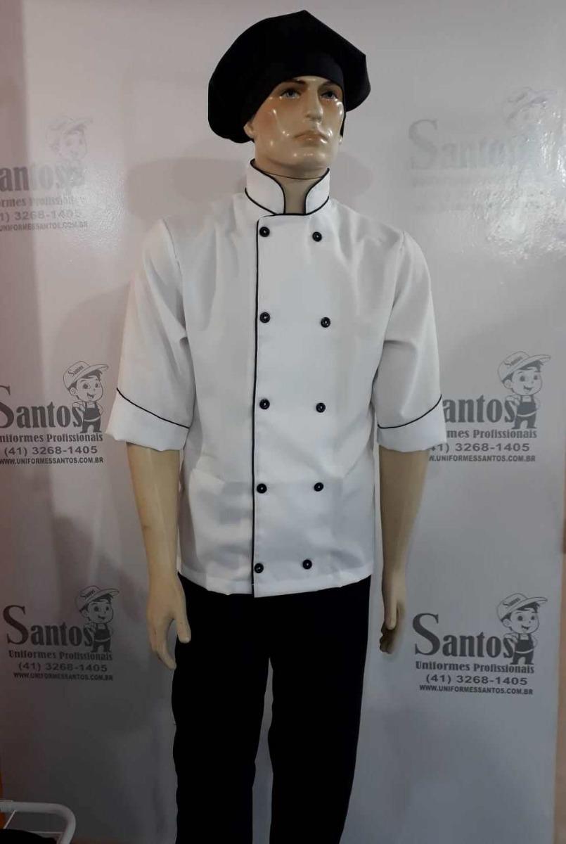 Uniforme Chef De Cozinha Dolma Bca + Calça Pta +chapéu Pto - R  89 ... 6a833ed5e02e6