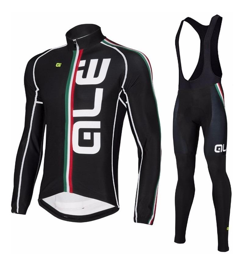 9e3b830abcc9 Uniforme Ciclismo Ale 2016 Negro, Jersey Largo + Pants Bib